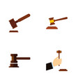 flat icon hammer set of hammer law justice and vector image vector image
