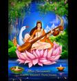 goddess of wisdom saraswati for vasant panchami vector image vector image