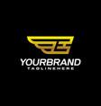 gold golden e wing wings alphabet letter logo vector image vector image