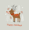 greeting card with deer and christmas trees vector image