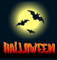 halloween flyer with flying bats and full moon vector image
