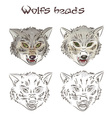 hand drawn wolves heads two them are painted vector image