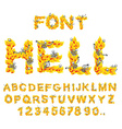 Hell font inferno ABC Fire letters Sinners in vector image vector image