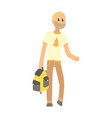 hitchhiking man with bag trying to stop a car on a vector image vector image