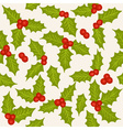 Holly seamless pattern vector image vector image