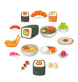 japanese food icons set cartoon style vector image vector image