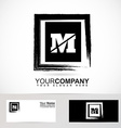 Letter M grunge square logo vector image vector image