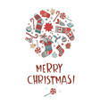 merry christmas doodle greeting card background vector image vector image