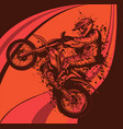 motocross jump with abstract background vector image vector image