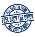 peel back the onion blue round grunge stamp vector image vector image