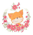 postcard poster cute little fox in a wreath of vector image vector image