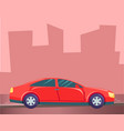 red car on city road silhouette buildings vector image vector image