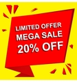 Sale poster with LIMITED OFFER MEGA SALE 20 vector image vector image