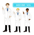 scientist man pointing up with happy face vector image