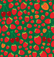 Seamless pattern with strawberries on green vector image vector image