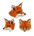 set of fox heads vector image