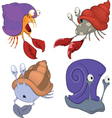 Set of sea crabs and snails cartoon vector image vector image