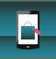 shopping bag with sale tag on smartphone vector image vector image