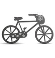 silhouette of a bike with a basket with flowers vector image vector image