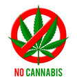 stop sign with hemp leaf vector image