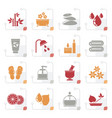 stylized spa and relax objects icons vector image