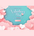 valentines day sale background in trendy paper cut vector image vector image