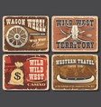 wild west vintage posters and cards vector image vector image