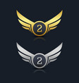 wings shield number 2 logo template vector image vector image