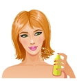 Cute young woman with bottle of perfume eps10 vector image