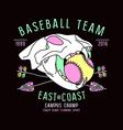 Baseball team emblem skull animal vector image