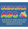 Unicorn ABC Rainbow font Multicolored letters vector image