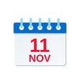 11 november calendar icon veterans day vector image