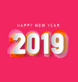 2019 happy new year paper cut design vector image vector image