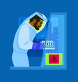 a scientist in biological protective suit working vector image vector image