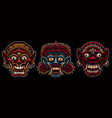 a set colorful traditional indonesian masks vector image vector image