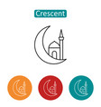 arabic crescent outline icons set vector image vector image