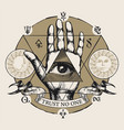 banner with all seeing eye symbol on an open palm vector image