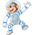 Cartoon funny monkey wearing astronaut costume vector image vector image