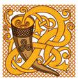 celtic scandinavian design drinking horn with vector image