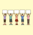 children with sign board graphic vector image vector image