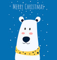 christmas greeting card and cute polar bear with vector image