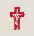 crucified jesus christ on cross a religious vector image vector image