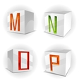 cube alphabet letters MNOP vector image vector image