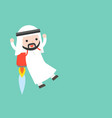 cute arab businessman flying with backpack rocket vector image vector image