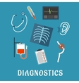 Diagnostics and medical test flat icons vector image vector image