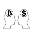 dollar and bitcoin signs inside of outline vector image