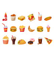fast food items set vector image