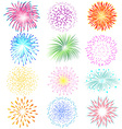 Fireworks set on white background vector image vector image