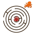 Game labyrinth find a way octopus vector image vector image