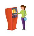 girl uses financial services of bank terminal vector image